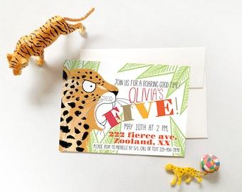 Leopard Invites, Leopard Invitations, Leopard Party Invites