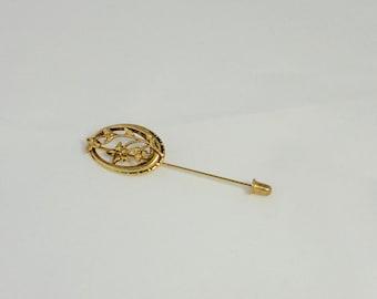 Vintage Gold tone Oval  Flowers Stickpin
