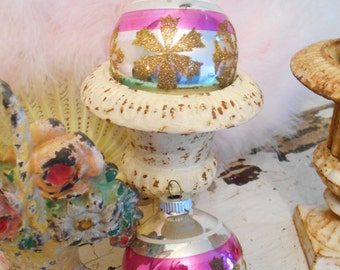 Three Shiny Brite Glass Christmas Ornaments with Glittered Snowflakes and one with Crowns