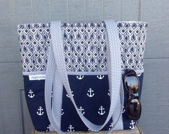 Nautical Navy Anchor Tote Bag Outside Pockets IPhone Pocket  Quilted Travel Bag  Inside zipper  Pockets Washable Purse LapTop Snap Closure