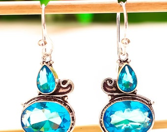 Blue topaz gemstone handmade jewelry earrings 2.5''