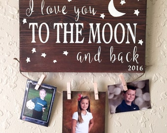 I love you to the moon and back, rustic, LOVE, hand painted wood sign, gift