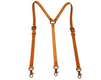 Tan Leather Suspenders