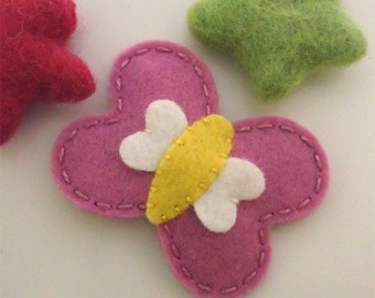 Felt hair clip -No slip -Wool felt -Becky the butterfly -old pink