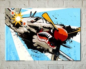 Airplane Art - P-40 Warhawk - Airplane Print, WWII Vintage Airplane, Military Gift, Airplane Decor, Art Print, Aviation, Pilot Gift, pop art