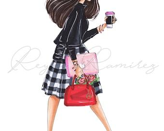Custom fashion illustration, custom illustration, custom blogger illustration, custom sketch, custom portrait, fashion girl portrait