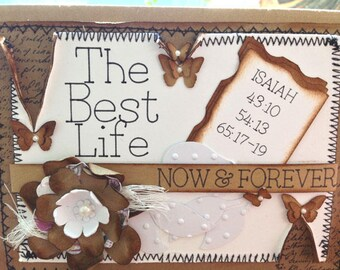 JW Greeting Card with an Uplifting Quote/Three-Dimensional Shabby Chic Vintage Style/Scriptures/Christian Greeting Card