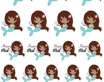 Attina / Cute Mermaid / Brown Hair / Dark Skin / Happy Mail // Enchanted Squad / Planner Stickers / Printable / Cricut / Instant Download