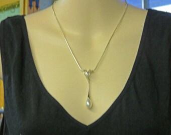 Tropfen Halskette - 10 1/2 Zoll-Sterling-Silber und Perlenkette - Teardrop Briolette Perlen