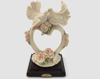 Dove Wedding Cake Topper Giuseppe Armani made in Italy Doves Heart Pink Floral Porcelain Keepsake Cake Topper