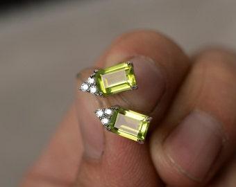 Natural Peridot Earrings Sterling Silver August Birthstone Gemstone Stud