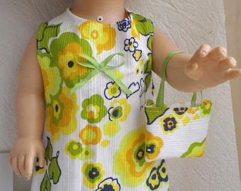 Pr 38-40 cm (No. 70) doll clothes: summer dress cotton + small bag with