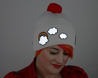 Reflective Safety Beanie Cap, Rainbows and Clouds, with or without Pom Pom