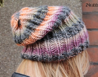 Winter Hat/Slouchy Beanie/Wool Knitted Hat/Gift Idea