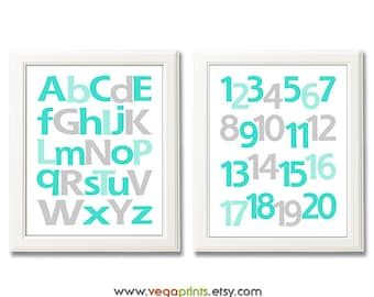 Aqua and gray Alphabet and numbers art print - UNFRAMED - aqua, grey, nursery wall art, kids room decor, 123, abc, baby boy room wall art