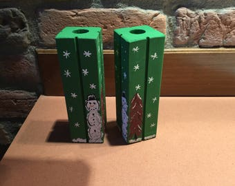 Christmas wooden candlesticks.