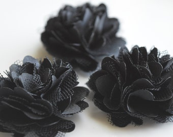 Black Lace Flower, Satin flower,Shredded Lace Flower, 2  inch,Wholesale Supply Flowers for Headband and other DIY