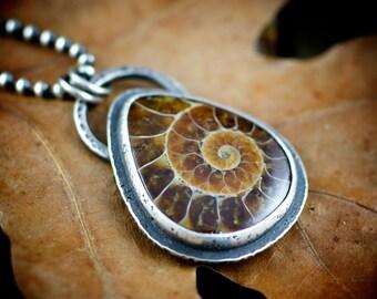 Ammonite pendant, ammonite necklace, fossil pendant, sterling ammonite, rustic unisex jewelry