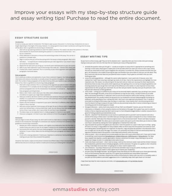 essay writing template essay guide and planner printable pack school
