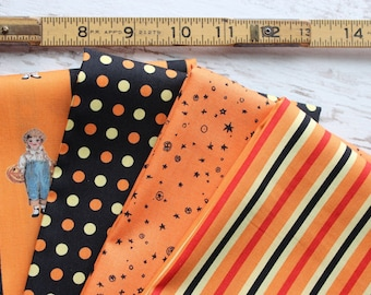 Trick or Treat Vintage Workshop by Indygo Junction for Moda Fabrics 4 FQ Fat Quarters Halloween Fabric
