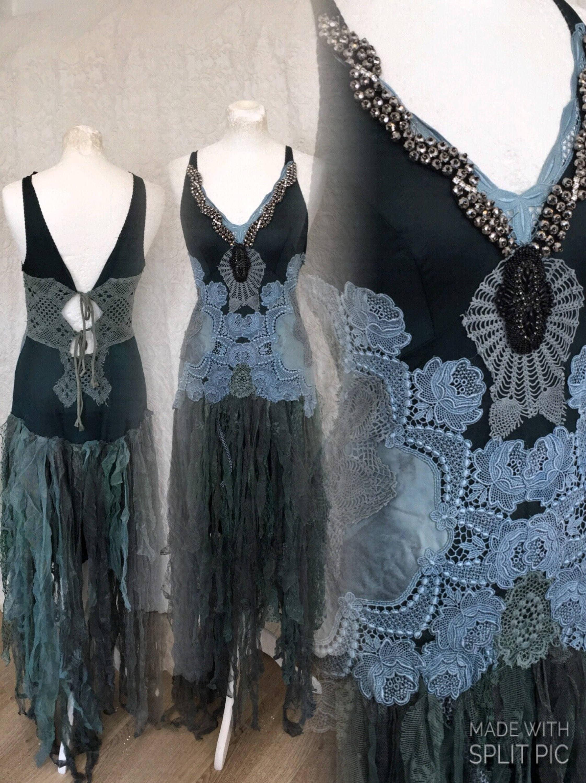 Boho Hochzeitskleid in dunkel grün und blau Braut Kleid blau