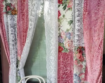 Boho Shabby Chic Curtains -Pink Velvet and Lace-IN STOCK multicolor HippieWild Roses Floral lace velvet patchwork Boudoir bohemian