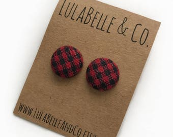 Buffalo Plaid (Lumberjack) Button Earring