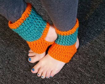 Crochet Yoga Socks / Yoga Socks / Dance Socks / Pilates Socks / Orange Yoga Socks / Orange Dance Socks / Hoop Socks / Yoga Leg Warmers