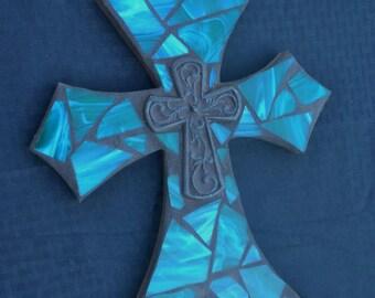 Green Mosaic Cross, Stained Glass Cross, Housewarming Gift, Wedding Shower Gift, Wall Hanging, Mosaic Wall Decor, Mosaic Art