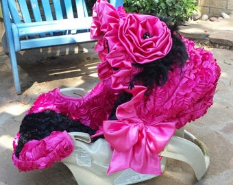 3D Rosette Flowers Fuschia Hot Pink and Black Reupholstered Car Seat Cover Canopy Head Protector Origami Rose Bling Ruffles Beautiful Custom