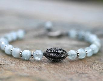 Aquamarine Gemstone Beaded Bracelet, Blue Gemstone Bracelet, Beaded Light Blue Bracelet, Oxidized CZ Sterling Silver Handmade Bracelet