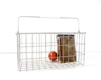 Vintage Metal Wire Basket / Industrial Storage