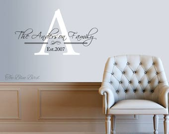 Family Name Decal Etsy - Family monogram wall decals