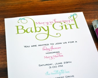 Baby Shower Invitation / Girls Bow Party Invite / Girls Bow Party Invitation / Baby Shower Invite / Girls Baby Shower Invitation