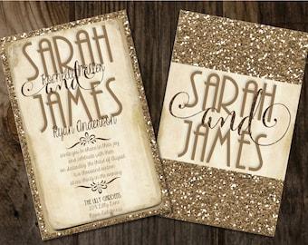 Gold Glitter Wedding Invitation, Gold and Champagne Wedding Invitations, Glitter Wedding Invitations, Gold Vintage Wedding Invitations