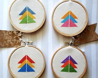 "Set of 4- 4"" color wheel cross stitches"