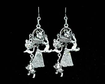 CRAZY CAT LADY, silver cat earrings, cat lover, animal rescue, feline, gothic jewellery, black cat, witchy, witchcraft, esoteric, occult