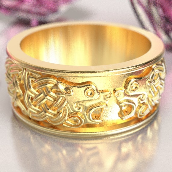 Celtic Hound Ring, Celtic Dog Wedding Band, Hound Jewelry, Made in 10K 14K 18K Gold Palladium or Platinum, Celtic Wedding Ring, 1102