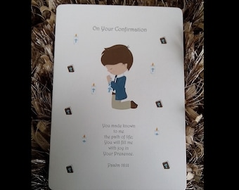 Personalised Boys Confirmation  Card Holy Communion Card - Personalized Boys Confirmation Card - Holy communion Card