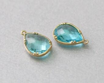 Aquamarine Teardrop Glass Pendant . Polished Gold Plated . Brass Framed . 10 Pieces / G1039G-AQ010