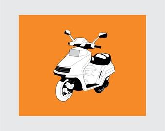 Motor Scooter Art Print, 8x10 PRINTABLE, Powersports, Instant Download, Digital