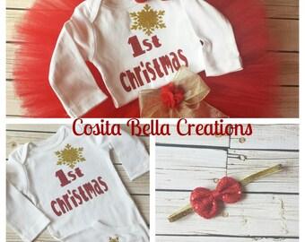 Girl 1st christmas outfit, girl christmas outfit, 1st christmas outfit, baby dress, christmas dress, santa baby, christmas baby bodysuit