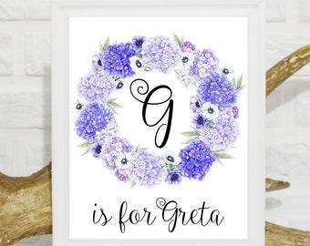 Custom Name Art Print Baby Girl Nursery Decor Floral wreath nursery print Kids Wall Art New Baby Girl gift girl wall art Custom baby name