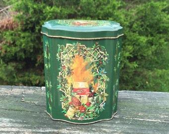 Collectible Tin Green Tin Can Christmas Time Avon Tin Can Made in England