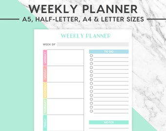 NEW! WEEKLY PLANNER Printable | Pastel, A5 size, A4 size, Half-Letter size, Letter size, Workout planner, Fitness Plan, Exercise Plan