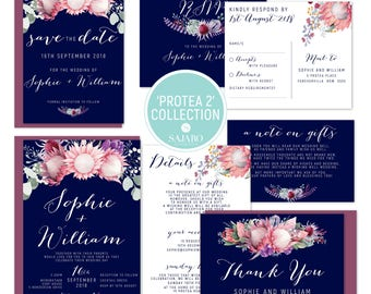 Protea 2 - Wedding invitation, wedding invitation set, protea flower, native bouquet