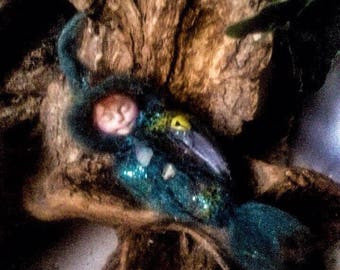 Teal cocoon baby elf art doll minature fairy collectable