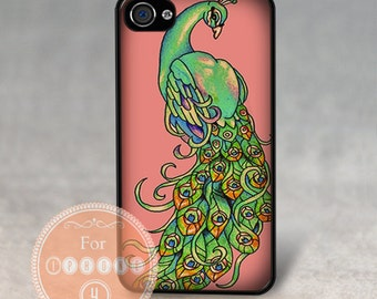 Case for Apple iPhone 4 / 4s / 5 / 6 / 6 Plus + / 7 - PEACOCK   - Rubber Silicone