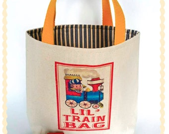 Kid's train bag,Child train tote bag,Train carry along bag,Wooden train play bag