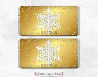 Gold & White Glittery Snowflakes Frozen Winter Wonderland  | Candy Bar Wrappers Full Size | Digital Instant Download